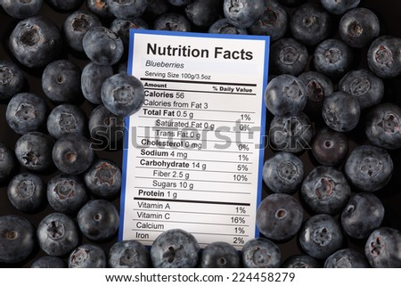 Nutrition facts of blueberries with blueberries background  - stock photo