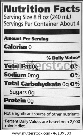 Nutrition facts on a water bottle. The image is black and white. - stock photo