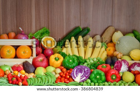 Nutrition Fruits and vegetables for healthy life style - stock photo