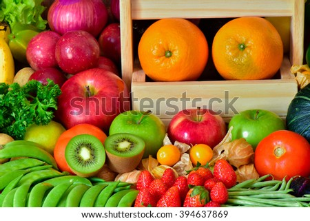 Nutrition Fruits and vegetables for healthy life style , Elegant group fruits and vegetables - stock photo