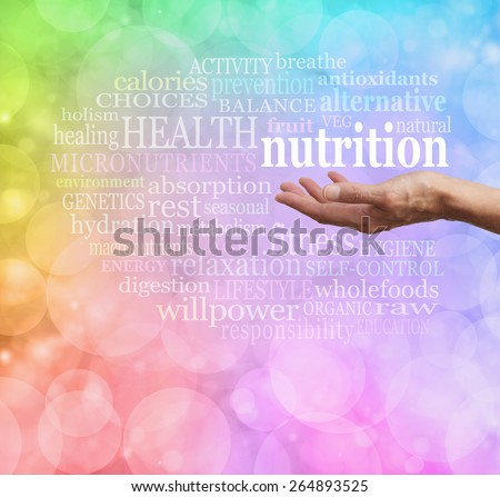 Nutrition in the Palm of your Hand - Female outstretched palm facing up with the word NUTRITION floating above, surrounded by a relevant word cloud on soft rainbow colored bokeh background  - stock photo