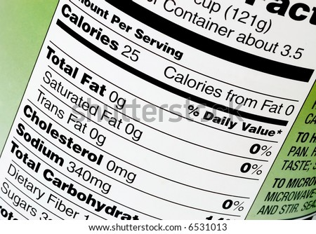 Nutrition label on a can of tomatoes