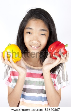 nutrition, teenage girl hold red and yellow bell peppers.