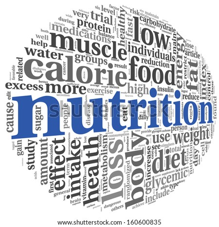 Nutrition words concept in tag cloud on white - stock photo