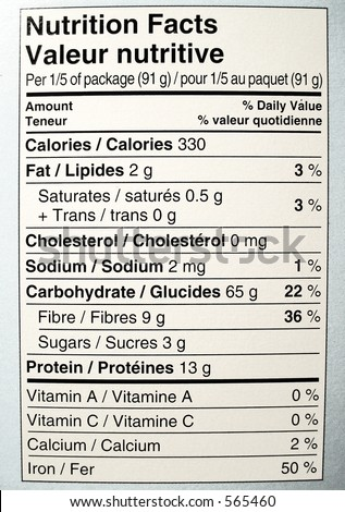 nutritional facts label of side of box of spaghetti