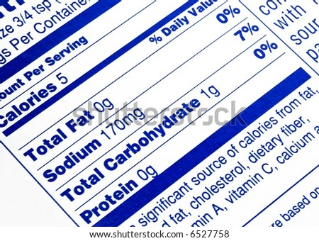 Nutritional label centered on no fat content - stock photo
