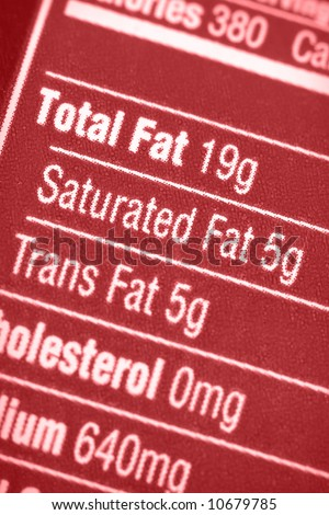 Nutritional label with focus on all the fats. - stock photo