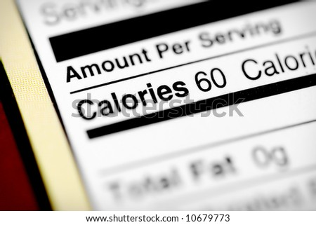 Nutritional label with focus on calories. - stock photo