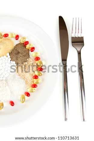 Nutritional supplements close-up - stock photo