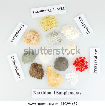 Nutritional supplements isolated on white close-up - stock photo