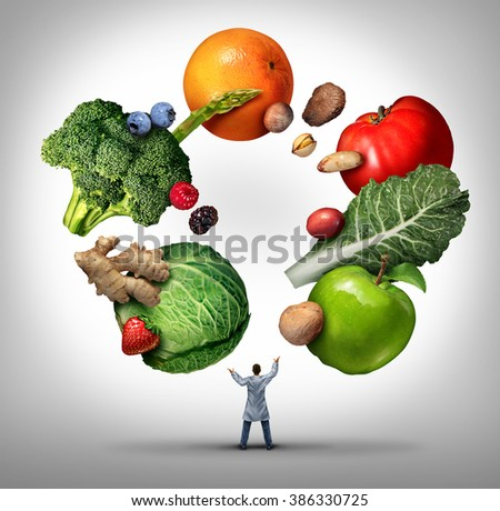 Nutritionist doctor or dietician and dietitian professional health food concept as a medical physician juggling fruits vegetables and nuts as a nutritionist professional advice symbol. - stock photo