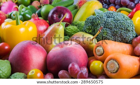 Nutritious fruit and vegetables organic for healthy - stock photo
