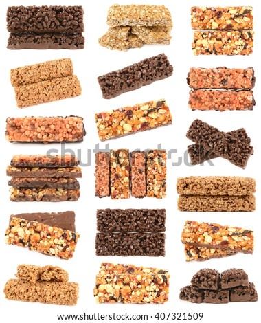 nutritious muesli candy isolated on a white background - stock photo