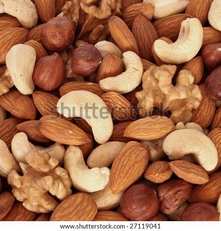 nuts (almonds, filberts, walnuts, cashews)  - healthy nutrition - stock photo