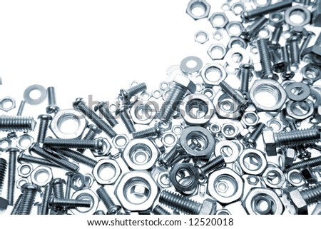 Nuts and bolts closeup - stock photo