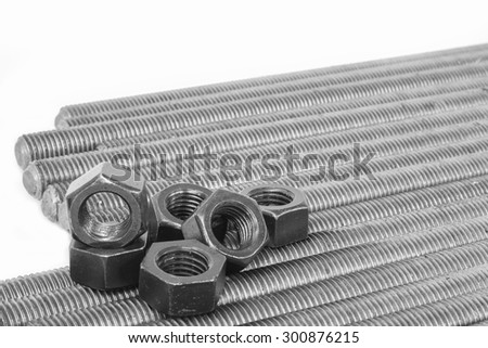 Nuts and bolts components of steel construction for industry. - stock photo