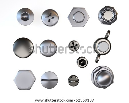 nuts and bolts over white - stock photo