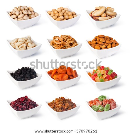 Nuts and dried berries collection isolated on a white background