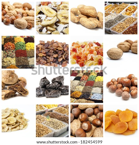 Nuts and dried fruit collage