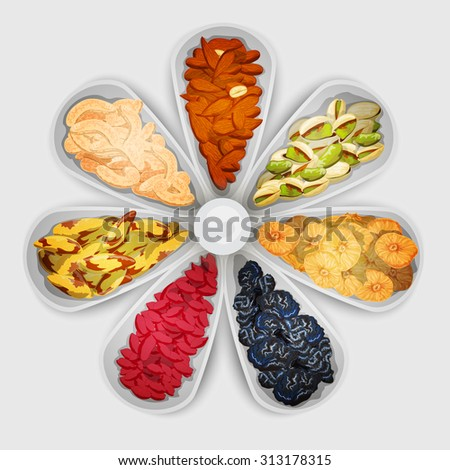 Nuts and dried fruit raw food assorted in bowls  illustration - stock photo
