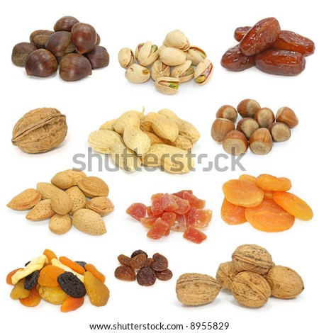 nuts and dried fruits collection on white - stock photo