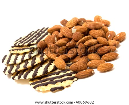 nuts and pastry isolated on white