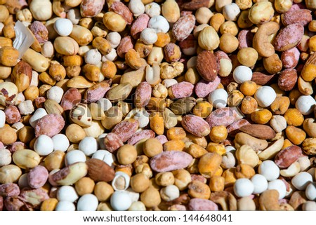 nuts and raisins or trail mix - stock photo