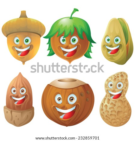 Nuts and seeds icon character set - stock photo
