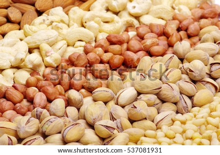 Nuts assorted  for backgrounds or textures