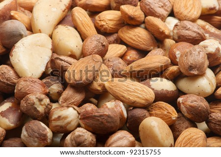 nuts background closeup - stock photo