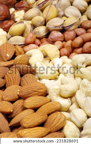 nuts collection isolated on background - stock photo