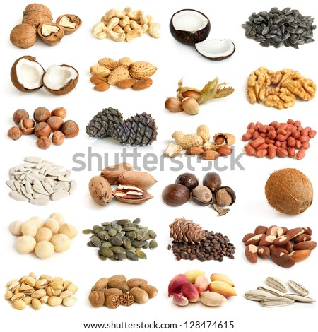 Nuts collection on a white background - stock photo