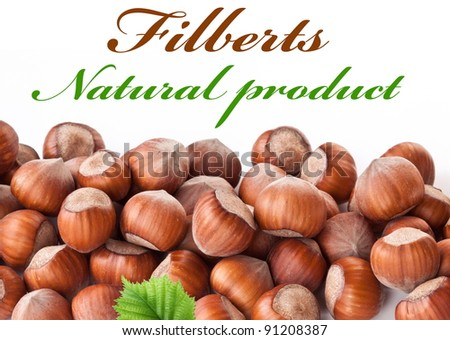 Nuts filberts isolated on white background. Space for text at the top. - stock photo