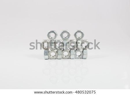 nuts Head bolts White background