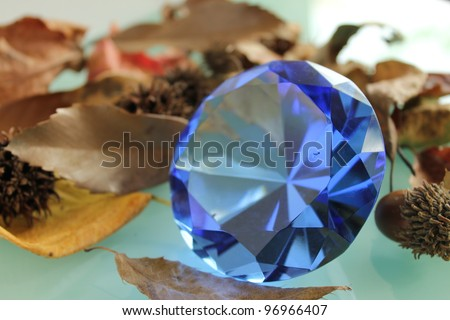 Nuts, leave, seed and blue sapphire - stock photo