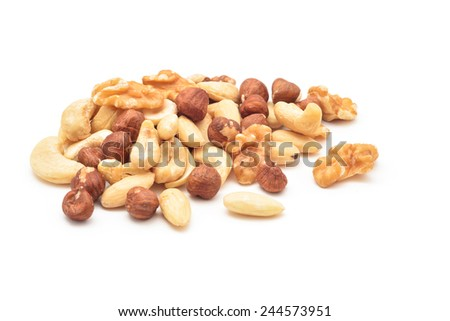 nuts mix isolated on white - stock photo