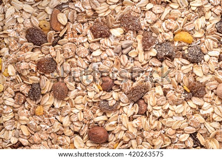 nuts mix oat cereals background - stock photo