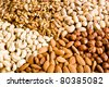 Nuts Mixed  — Different nuts (almons, cashews, walnuts and filbers) - stock photo