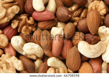 Nuts mixed, for backgrounds or textures - stock photo
