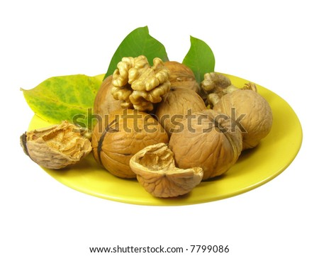 nuts on the plate with clipping path included - stock photo