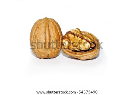 nuts photographed in studio on white background - stock photo