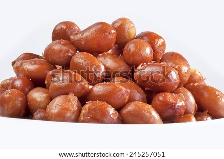 Nuts - Spanish red peanuts, salted unpealed - stock photo
