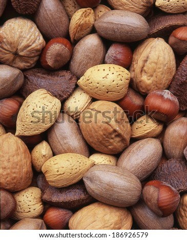 Nuts variety as a background/ full frame - stock photo
