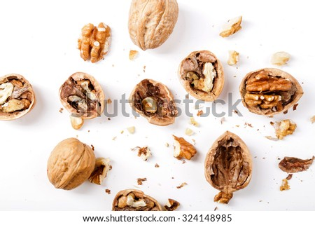 Nuts. Walnuts on a white background - stock photo