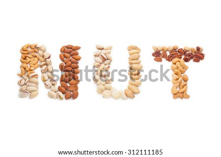 Nuts word from mixed nuts isolated on white background. - stock photo
