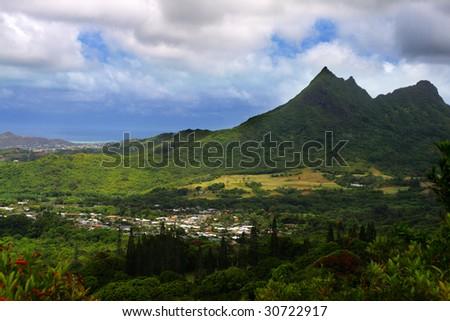 Nuuanu Pali State Park, O'ahu, Hawaii - stock photo