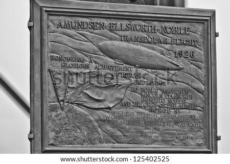 Ny Alesund Transpolar Flight 1926 memorial plaque - stock photo