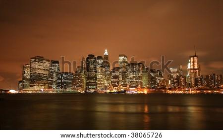 NY cityscape at night - stock photo