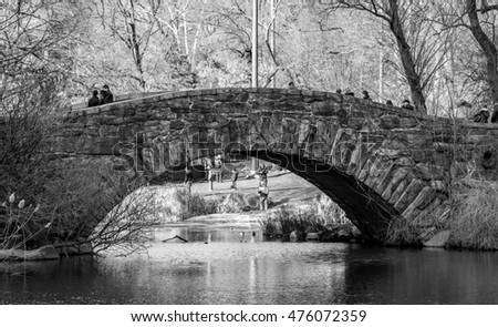 NY - MANHATTAN, CIRCA JAN 2015: Unidentified people walking on a bridge in Central Park of Manhattan, black and white