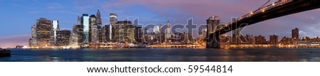 NY - Manhattan over the river early morning - stock photo